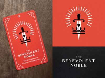 KNOCK Tarot | The Benevolent Noble foil stamp foil red crown heart glow noble sword illustration playing cards tarot cards tarot cards