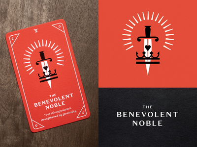 KNOCK Tarot | The Benevolent Noble foil stamp foil red crown heart glow noble sword illustration playing cards tarot cards tarot cards