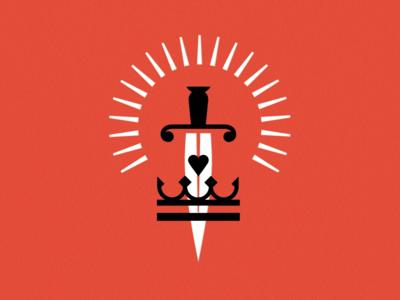 KNOCK Tarot | The Benevolent Noble tarot red royal noble crown heart blade glow sword