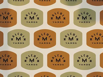 Malcolm Yards yards malcolm monogram orange burnt orange green olive  green vintage heritage industrial badge branding brand logo