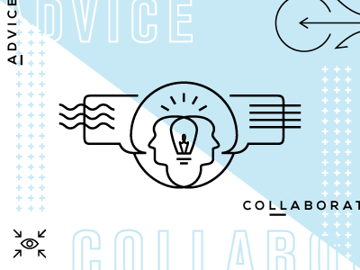 Advice & Collaboration collaboration advice light blue white heads intersect bulb lightbulb speech bubbles