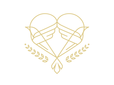 Let there be peace monoline positivity peace gold line art leaves olive branches doves heart