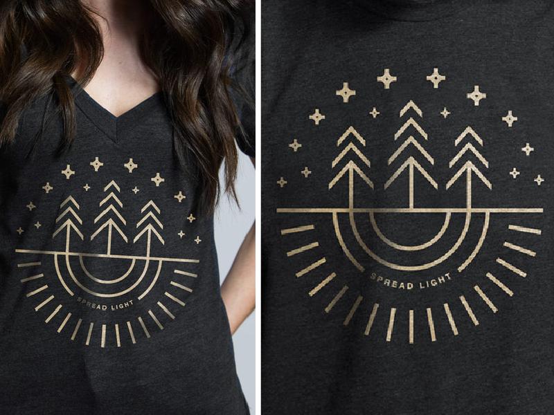 Light Shirt monoline help ink stars sun spread light line art trees shirt