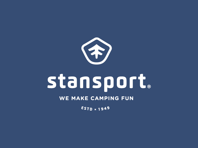 Stansport Mark fun gear camp logo blue est shield badge tree camping stansport