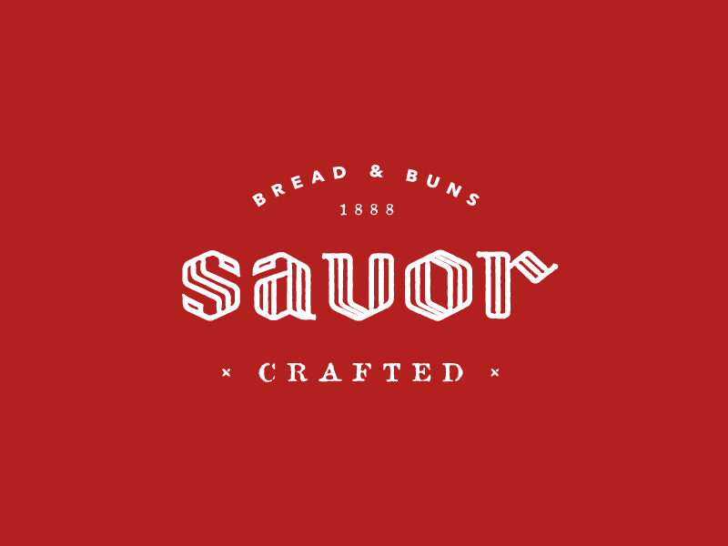 Savor Version 2 type blackletter crafted brand wordmark logo buns bread savor
