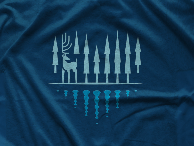 The Great North woods blue tshirt apparel shirt reflection antlers deer winter heart trees north