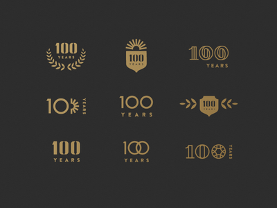 Centennial Exploration shield numerals typographic burst laurel black gold logo centennial years 100