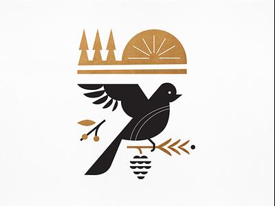 W I N T E R  (2 of 4) parks bronze black season trees branch pine winter pinecone sun bird silkscreen poster illustration