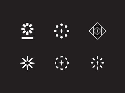 Mark Exploration plus geometric burst radial minimal mark logo