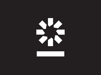 Mark Exploration circular pinwheel star minimal geometric burst radial mark logo
