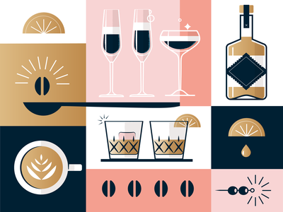Beverage Illo drop luxury olives label gold spoon lime coffee cup coffee liquor glass illustration cocktail drinks
