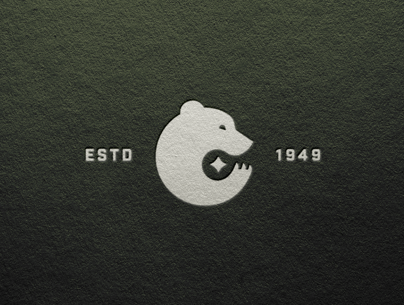 Bear Mark camping established green nature animal claw star bear logo design logomark logo