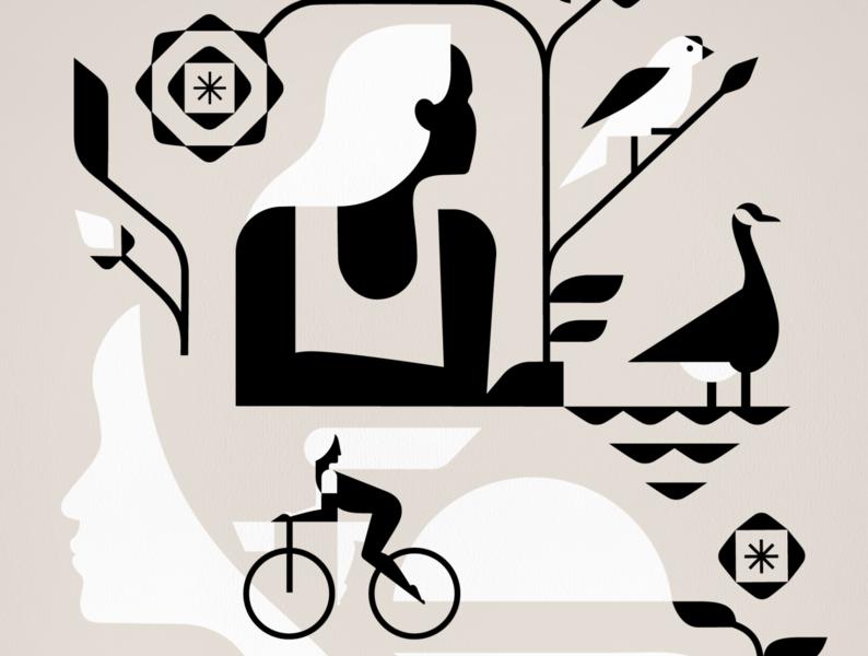 Sneak Peek human profile biking leaves floral flowers geese birds ladies nature women illustration poster