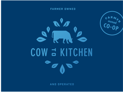 Dinner Bell Illustration blue kitchen co-op farmer leaves leaf geometric illustration illustration dairy butter bird cow