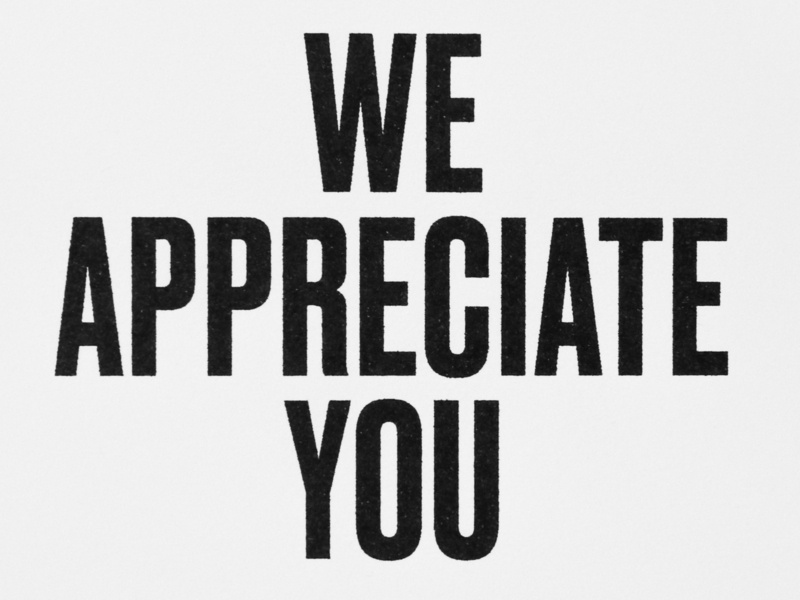 We Appreciate You typographic poster typography greeting card