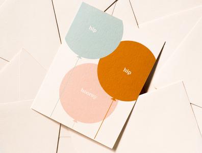 hip hip hooray celebration balloons graphic greeting card illustration stationery
