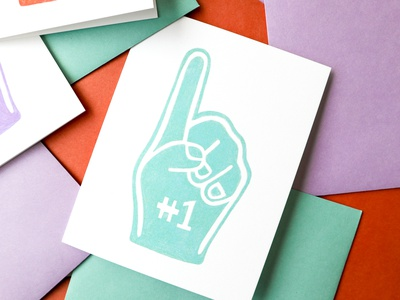 Number 1 Fan Greeting Card foam finger illustration greeting card pattern stationery