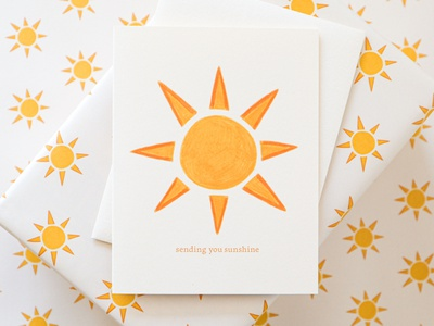 SENDING YOU SUNSHINE gift wrap wrapping paper sunny sunshine illustration pattern greeting card stationery