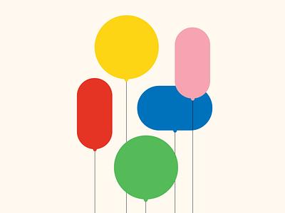 Balloons stationery greeting card design vector illustration pattern balloons