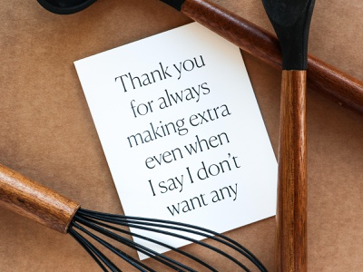 Thank You For Cooking Extra Greeting Card anniversary love card romance greeting card design stationery