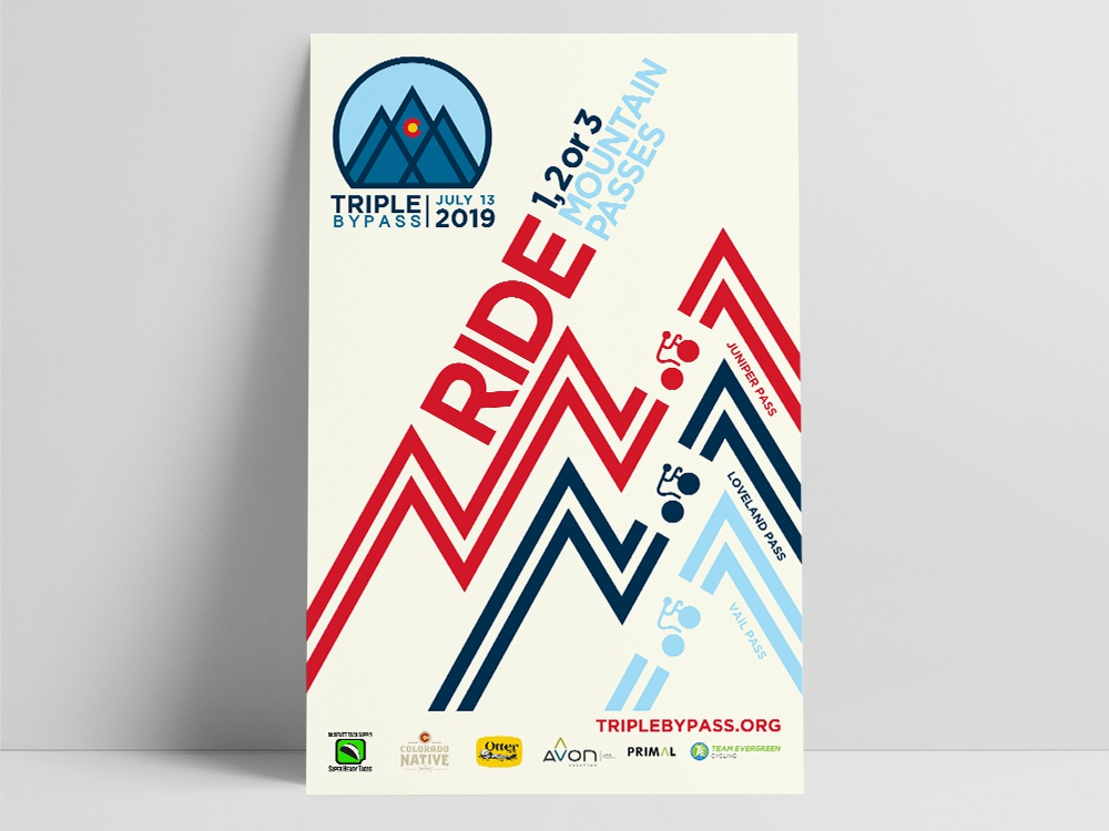 Triple Bypass Cycling Poster event poster cycling poster design poster events design branding graphic  design