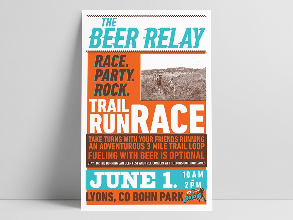 The Beer Relay Running Race Poster letterpress event poster poster design poster events design branding graphic  design