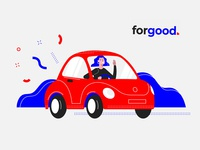 For Good vector illustration flat design blue happy retro woman girl driver drive car red
