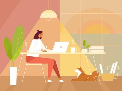 Hello Friends! designer work cartoon web freelance chat colorful dog flat flatdesign workspase worplace girl people character vector illustration