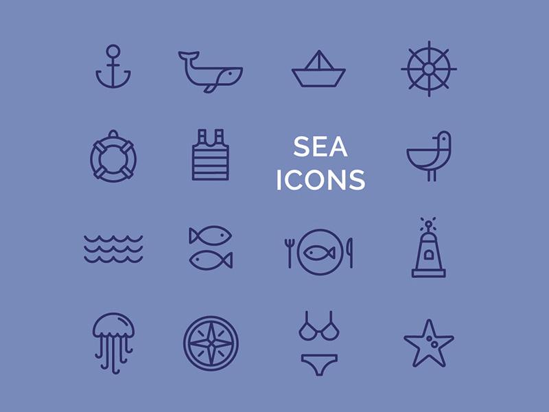 Line sea icons flat design anchor gull fish collection set logo design sea illustraion icon line