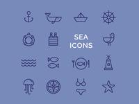 Line sea icons