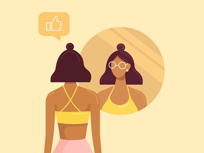 Reflection cartoon character people woman beautiful beauty flat design reflection like mirror girl vector design illustration