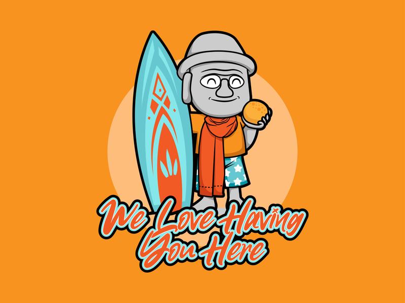 We Love Having You Here typography character orange logo branding dailydesign illustration vector hellodribbble design