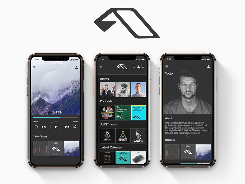 Anjuna Application design uiuxdesigner xd adobe xd adobexd deep house trance music app music player app anjuna application ui uxui ux design uidesign uiuxdesign uiux