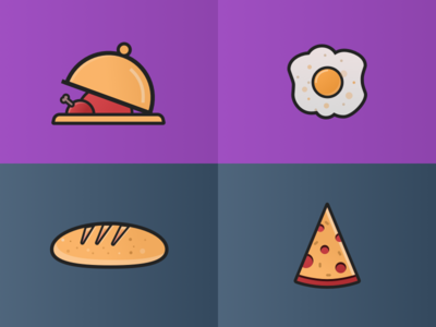 Dining Illustration omelette checken bread pizza delicious flat food dining iconset icons illustration