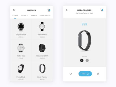 Watches shopping app ios clean watches minimal mobile shopping product e-commerce app ecommerce ux ui
