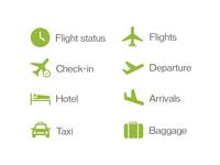 Fictive airline pictogram set