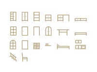 Carpentry business icon set