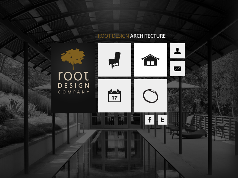 Root Design Company website layout dark