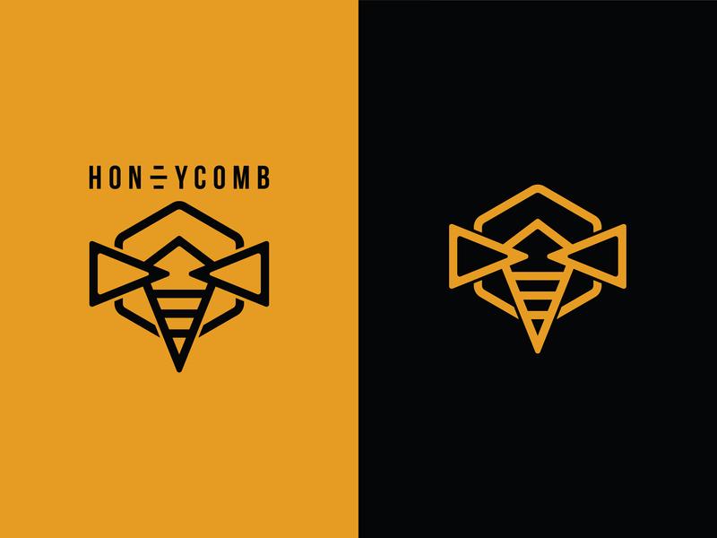 Honeycomb Logo Icon branding illustration vector honey honeycomb bee logo