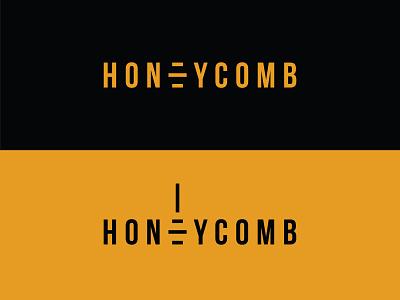 Honeycomb Logotype typography bee branding logo