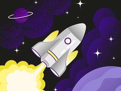 Spaceship design illustration stars cosmos universe plant spaceship space