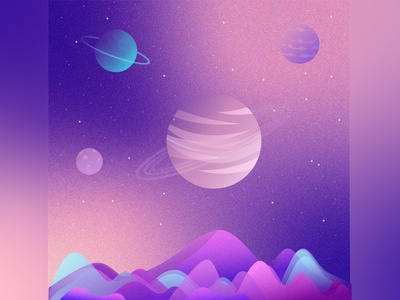 Planet mountains mountain planets planet stars universe space illustration cosmos