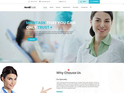 Meditask mokeup photoshop psd psd template design treatments hospital ui landing page design landing page