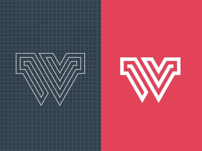 W Asset icon branding asset w typography lines