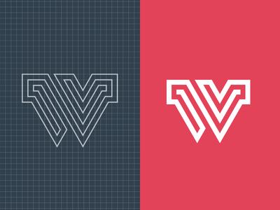 W Asset icon branding asset w typography lines