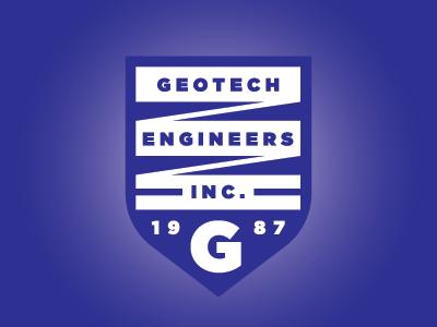 Geotech Logo gotham gradient blue typography shield crest engineering geotechnical