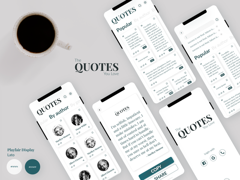 Quotes App design user interface design ui design user experience user interface typography ui ux logo design branding