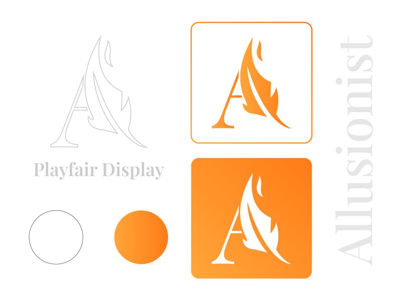 Allusionist | logo design icon pen feather a letter orange logodesign flat logo flat wordmark a logo logotype allusion poetry logo poem poem website