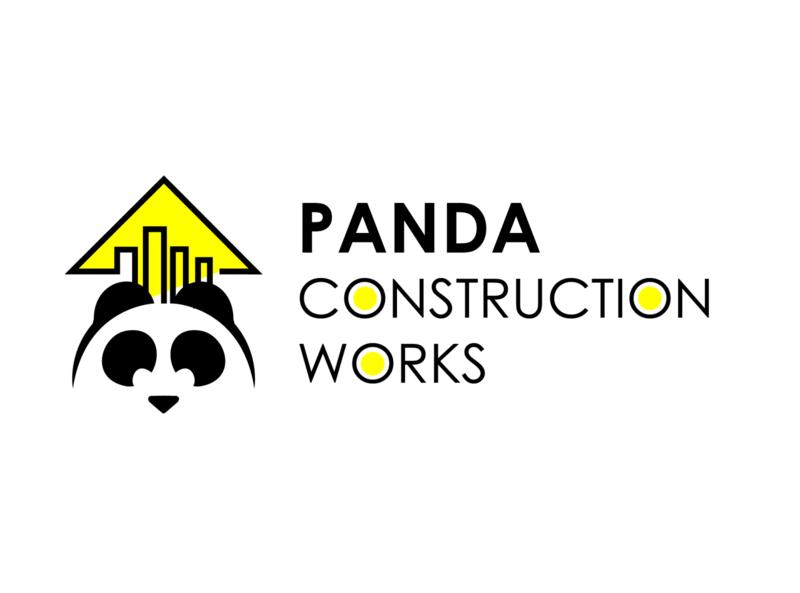 Logo for Panda Construction Works icon illustration logos logotype construction panda typogaphy logo design flat logo branding
