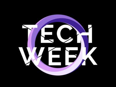 Tech Week Black design brand illustration icon logo design logo branding tech logo fest technology tech